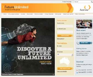 Screenshot of the front page of the Australia international education website.
