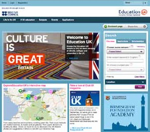 Screenshot of the front page of the United Kingdom international education website.