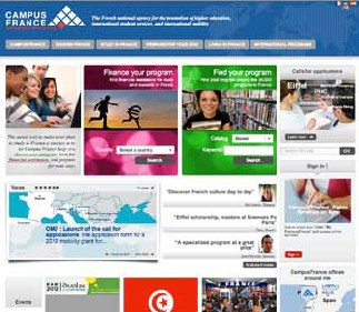 Screenshot of the front page of the France international education website.