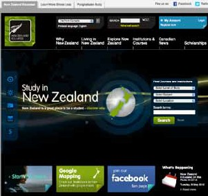 Screenshot of the front page of the New Zealand international education website.