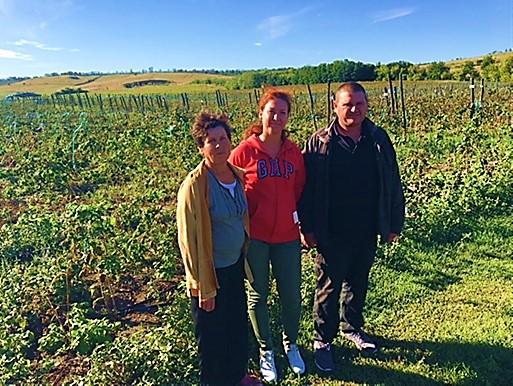 Photo of three members of the family cooperative in their field