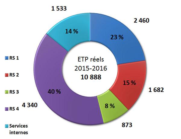 Diagramme des équivalents temps plein (ETP) par résultat stratégique