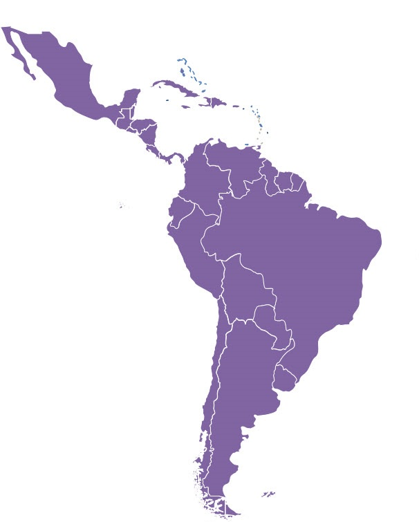 Map of Latin America and the Caribbean