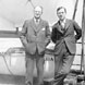 Skelton (left) en route to Europe with Lester B. Pearson.