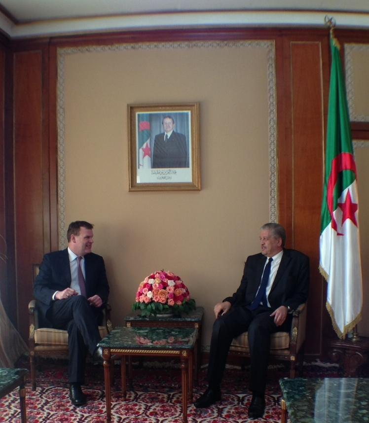 Foreign Affairs Minister John Baird (right) meets Abdelmalek Sellal, Prime Minister of Algeria