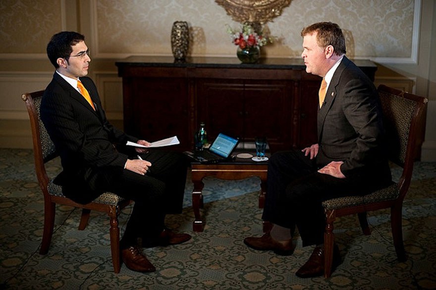 Minister John Baird is interviewed on Al Jazeera television during an official visit to Qatar.
