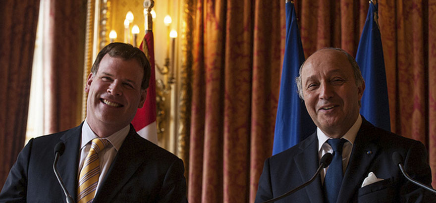 Foreign Affairs Minister John Baird meets with Laurent Fabius, France's Minister of Foreign Affairs