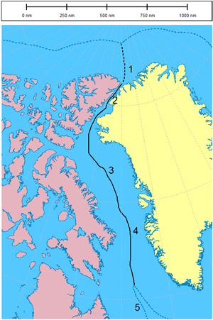 Illustration of the maritime boundary between Canada and the Kingdom of Denmark.