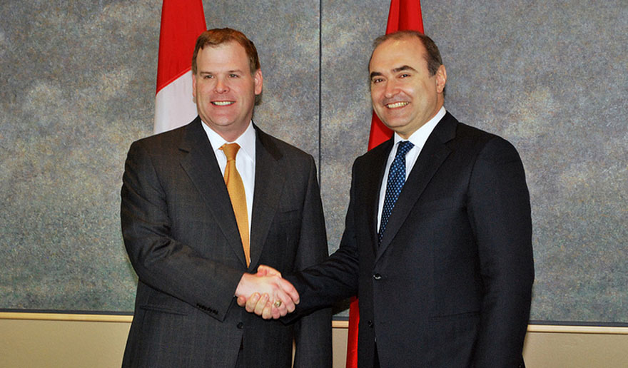Minister Baird Greets Albanian Deputy Prime Minister and Minister of Foreign Affairs Haxhinasto