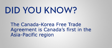 The Canada-Korea Free Trade Agreement is Canada's first in the Asia-Pacific region