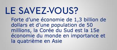 Forte d'une économie de 1,1 billion de dollars et d'une population de 50 millions, la Corée du Sud est la 15e économie du monde en importance et la quatrième en Asie