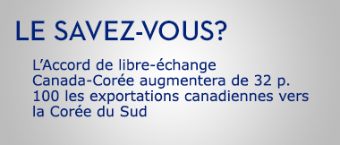 L'Accord de libre-échange Canada-Corée augmentera de 32 p. 100 les exportations canadiennes vers la Corée du Sud
