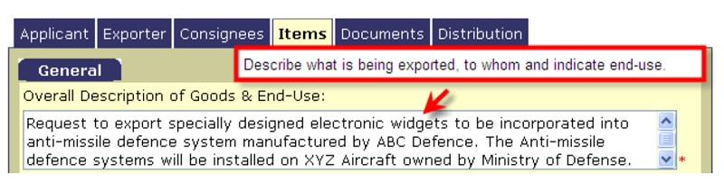 """E.3.4. EXCOL Field: Overall description of goods and end-use"""" field"""