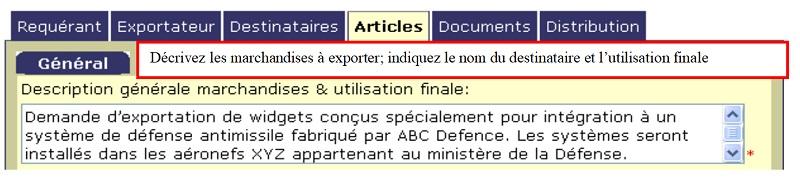 E.3.4. Champ du CEED: Description générale des marchandises et utilisation finale