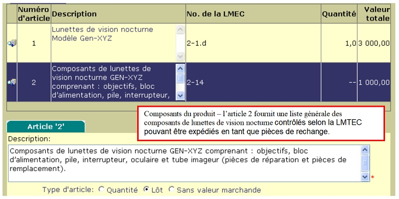 E.3.7.2 Composantes d'un produit