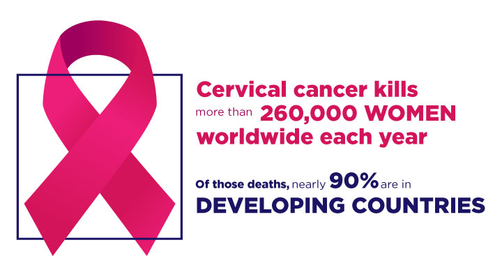 Cervical cancer kills more than 260,000 women worldwide each year. Of those deaths, nearly 90% are in developing countries.