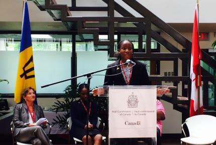 Tapinawashe Haukozi addresses High Commission staff at a Town Hall on gender equality.