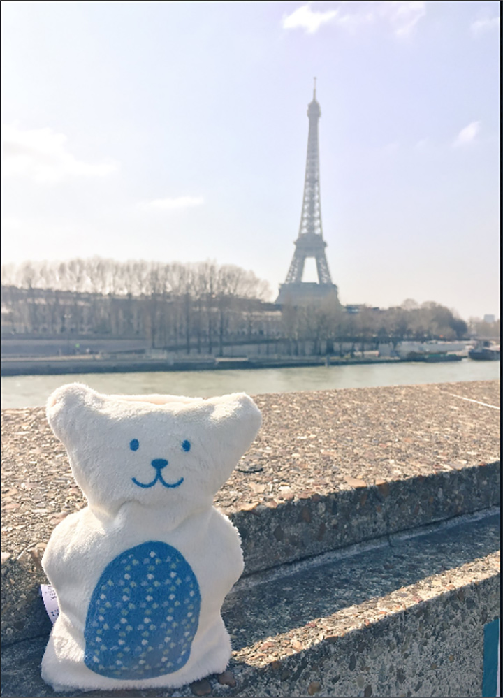 Kissy BooBoo, a therapeutic teddy bear with a mission to soothe children in pain, in Paris, France.