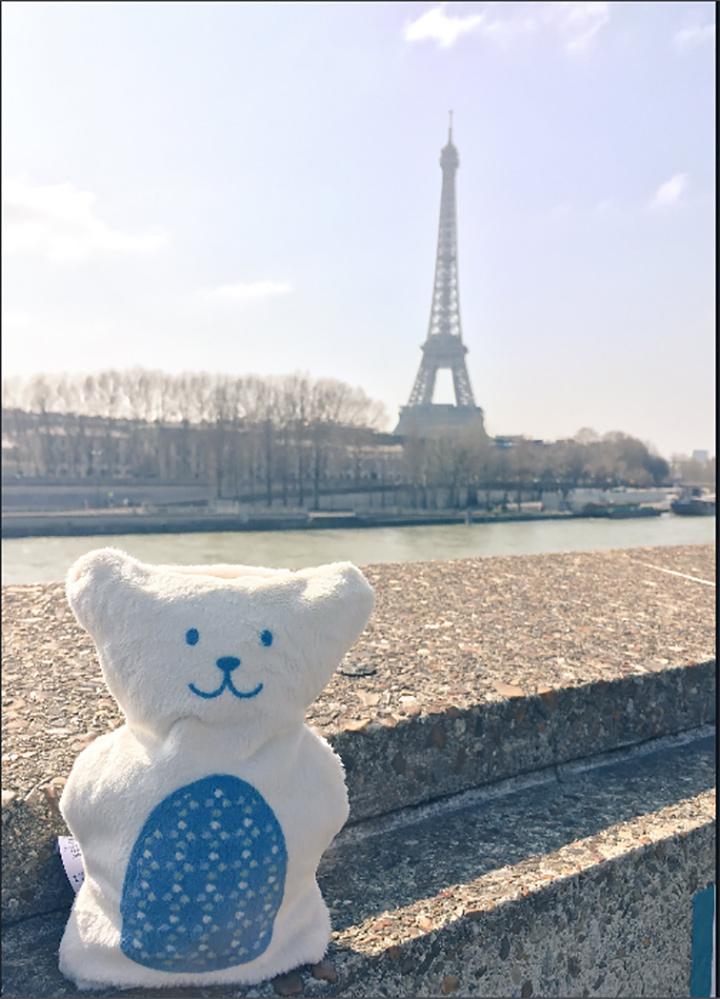Béké-bobo, un ourson thérapeutique, qui aide à soulager les maux des enfants, à Paris (France).