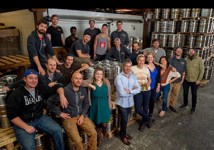 Eli Gershkovitch (centre) pictured with Brewmaster Julia Hanlon and the rest of the team in the Steamworks Taproom.