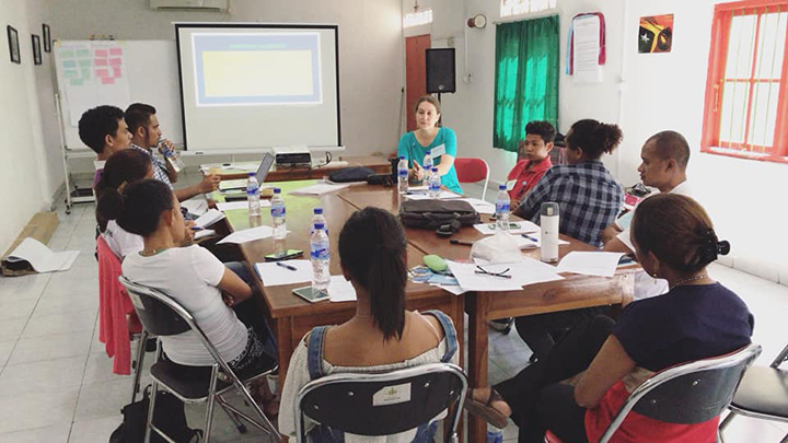Eight youth leaders from Hatutan Youth Network receive training in advance of the community visits to prepare for sensitive questions and concerns.