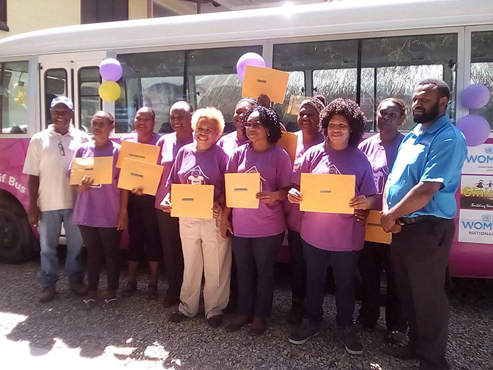 Trainees pose for a photo after successfully completing their driving course. Photo: Ginigoada Foundation