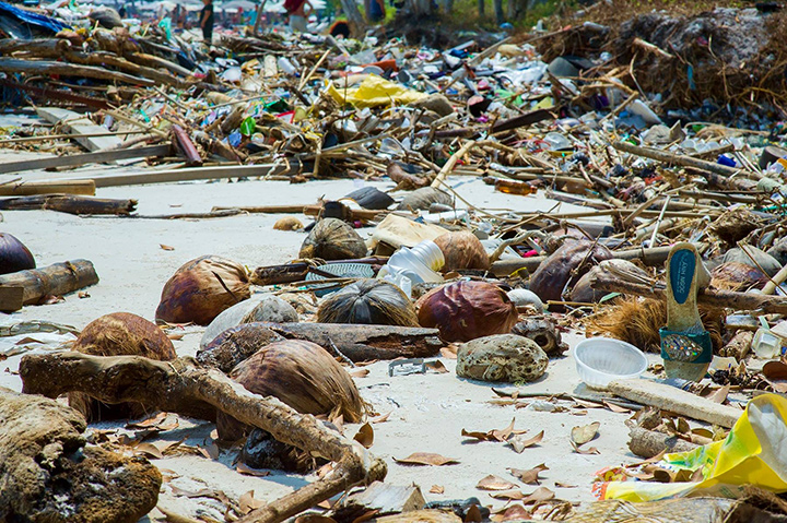 Garbage and other man-made debris littering the shore of a Vietnamese beach.
