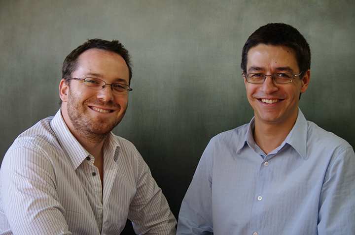 Jean-François Roy (left) and Pierre-Alexandre Fournier, co-founders of Hexoskin