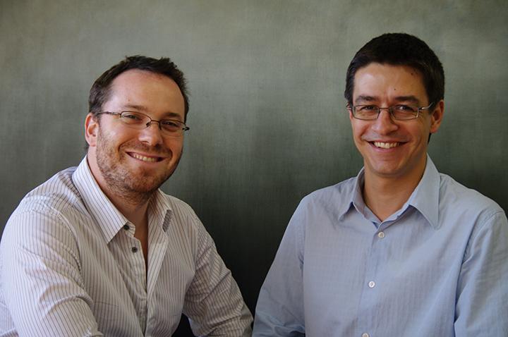 Jean François Roy (à gauche) et Pierre Alexandre Fournier, cofondateurs d'Hexoskin