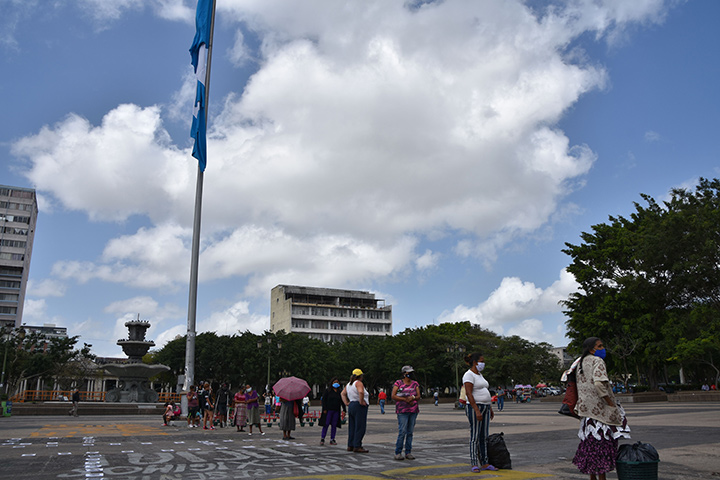 Physical distanced line-up at Guatemala City's Central Square