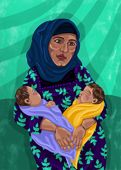 Illustration of a woman holding her twin babies in her arms