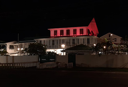 The High Commission Building turns orange.
